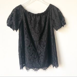 Lulu's Black Lace Off the Shoulder Top